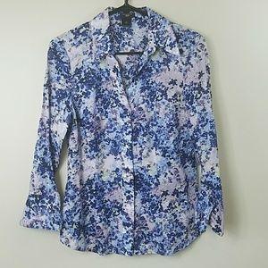 Ann Taylor Petite Watercolor Floral Shirt